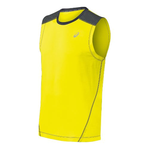 Mens ASICS PR Lyte Sleeveless Technical Tops - Safety Yellow/Steel XXL