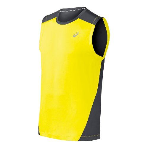 Mens ASICS PR Lyte Sleeveless Technical Tops - Safety Yellow/Steel XXL