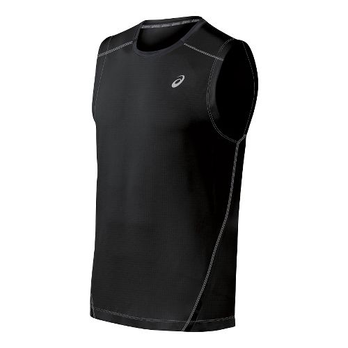 Mens ASICS PR Lyte Sleeveless Technical Tops - Black/Frost L