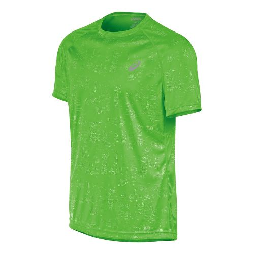Mens ASICS Graphic Short Sleeve Technical Tops - Skyline Gecko S