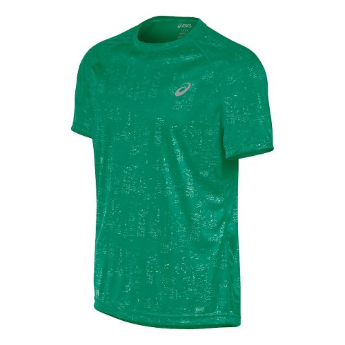 Mens ASICS Graphic Short Sleeve Technical Tops - Skyline Jungle S