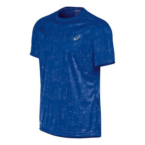 Mens ASICS Graphic Short Sleeve Technical Tops - Skyline Airforce S