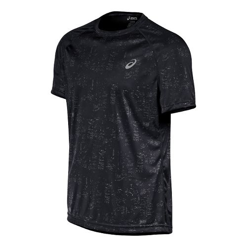 Mens ASICS Graphic Short Sleeve Technical Tops - Skyline Black M