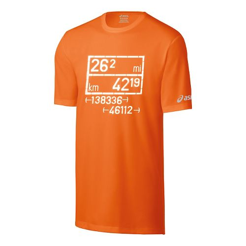 Mens ASICS Equation Tech Tee Short Sleeve Technical Tops - Shocking Orange M
