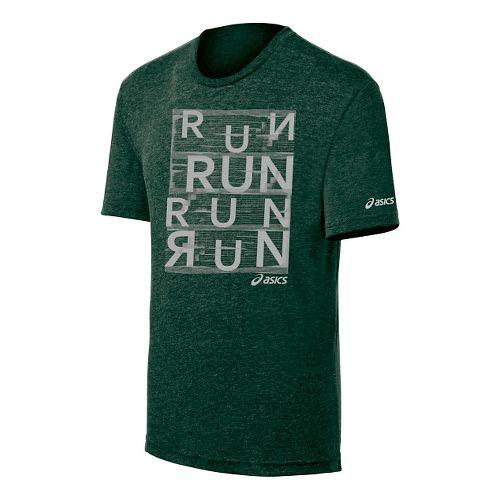 Mens ASICS Urban Run Tee Short Sleeve Technical Tops - Dark Green M