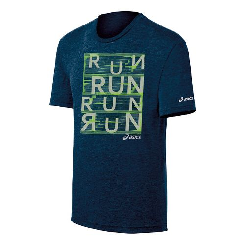 Mens ASICS Urban Run Tee Short Sleeve Technical Tops - Dark Navy XXL