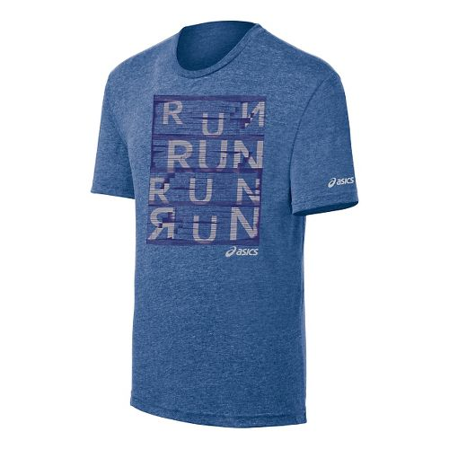 Mens ASICS Urban Run Tee Short Sleeve Technical Tops - Ultramarine M