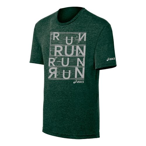 Mens ASICS Urban Run Tee Short Sleeve Technical Tops - Dark Green XL