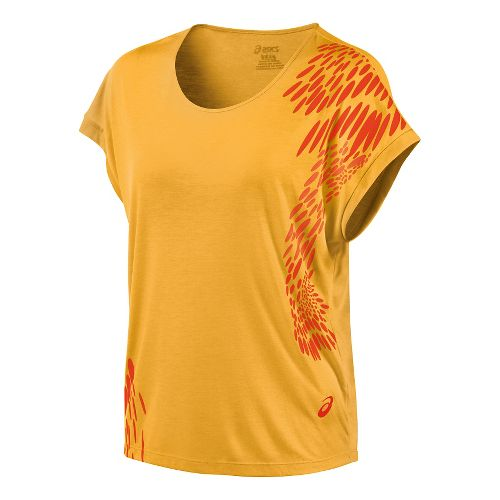 Womens ASICS Flex Short Sleeve Technical Tops - Fizzy Peach XL