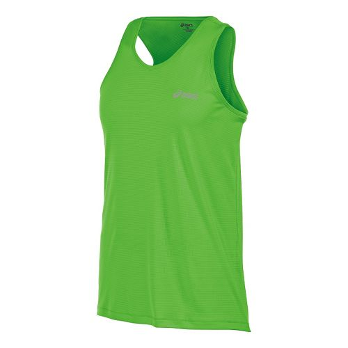 Mens ASICS Performance Run Singlet Tank Technical Tops - Green Gecko M