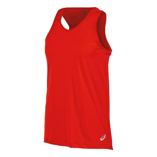 Mens ASICS Singlet Sleeveless & Tank Tops Technical Tops - Fiery Red S