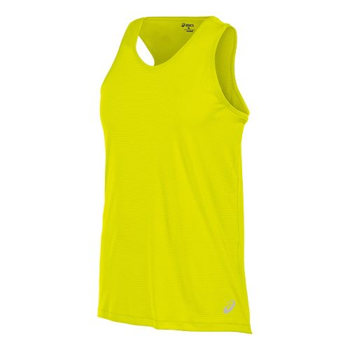 Mens ASICS Performance Run Singlet Sleeveless & Tank Technical Tops - Safety Yellow M