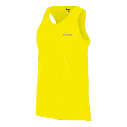 Mens ASICS Performance Run Singlet Tank Technical Tops - Safety Yellow L
