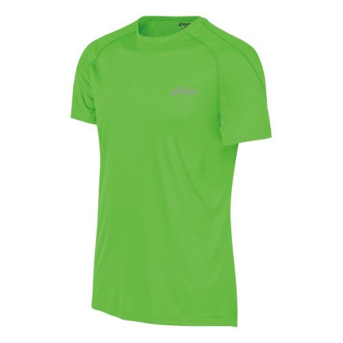 Mens ASICS Performance Run Tee Short Sleeve Technical Tops - Green Gecko S
