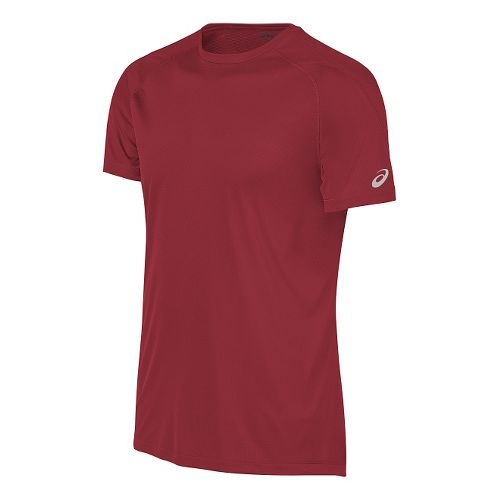 Mens ASICS Performance Run Tee Short Sleeve Technical Tops - Red L