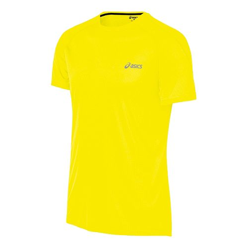 Mens ASICS Tee Short Sleeve Technical Tops - Safety Yellow S