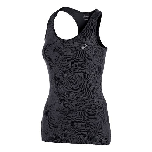 Womens ASICS Train Racerback Tank Technical Tops - Black Print M