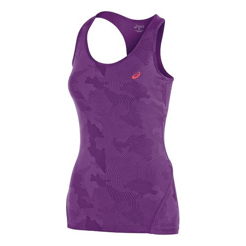 Womens ASICS Train Racerback Tank Technical Tops - Purple Magic Print L