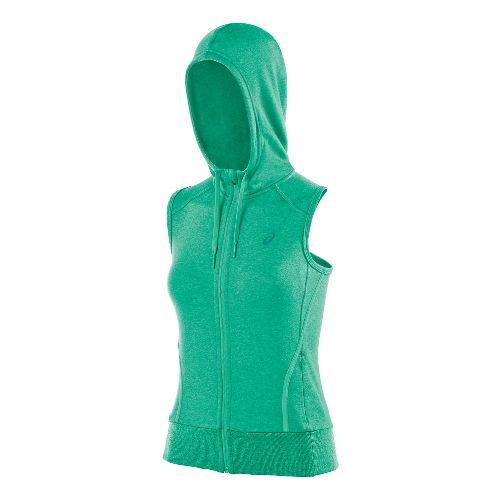 Womens ASICS Racerback Hoodie Running Vests - Cool Mint Heather XL