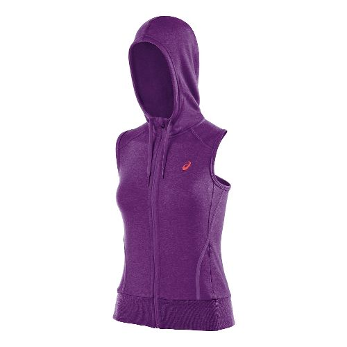 Womens ASICS Racerback Hoodie Running Vests - Purple Magic L