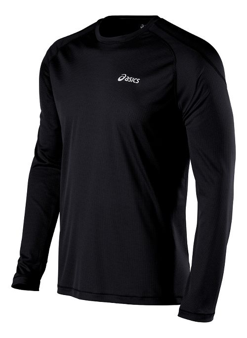 Mens ASICS Crew Long Sleeve Technical Tops - Black XL