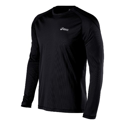 Mens ASICS Performance Run Crew Long Sleeve No Zip Technical Tops - Black XL