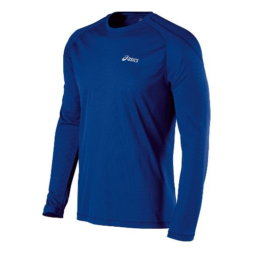 Mens ASICS Performance Run Crew Long Sleeve No Zip Technical Tops - Air Force Blue ...