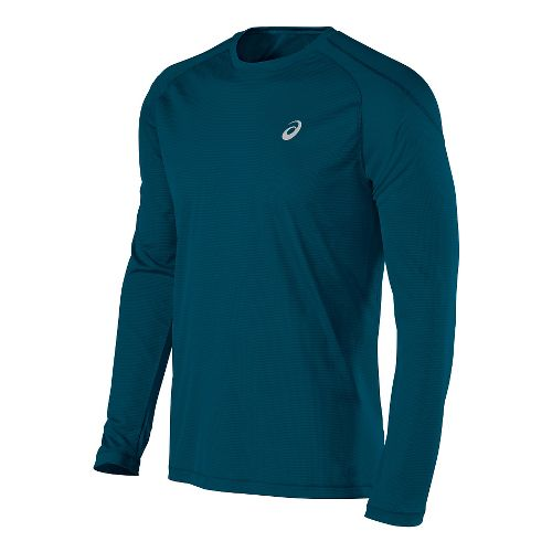 Mens ASICS Crew Long Sleeve Technical Tops - Ink Blue M