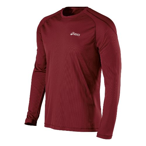 Mens ASICS Performance Run Crew Long Sleeve No Zip Technical Tops - Deep Ruby XXL ...