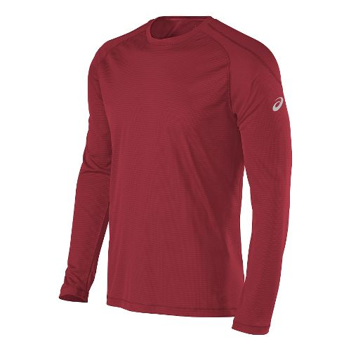 Mens ASICS Performance Run Crew Long Sleeve Technical Tops - Red M