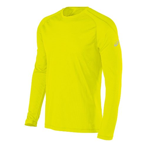 Mens ASICS Performance Run Crew Long Sleeve Technical Tops - Safety Yellow L