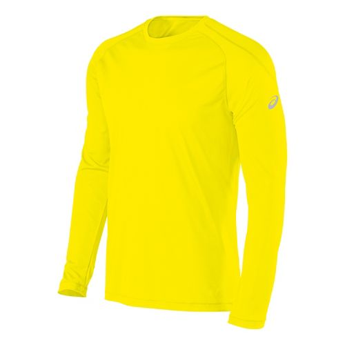 Mens ASICS Crew Long Sleeve Technical Tops - Yellow S