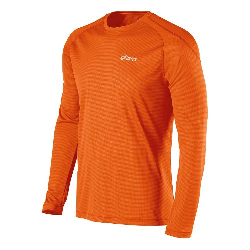 Mens ASICS Performance Run Crew Long Sleeve No Zip Technical Tops - Shocking Orange L ...