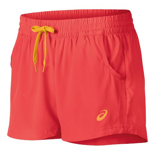 Womens ASICS Train Woven Lined Shorts - Coralicious XS