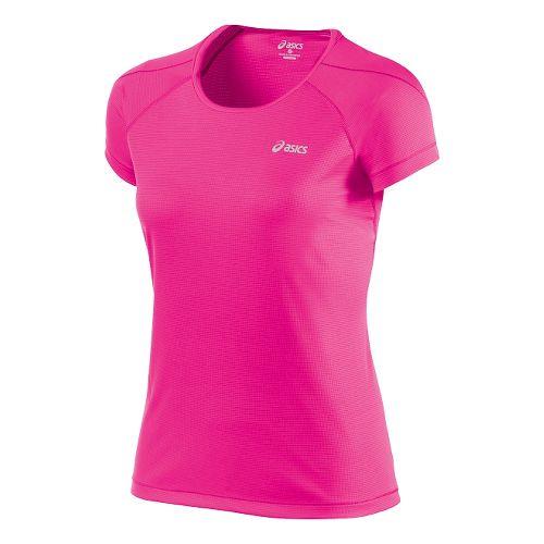 Womens ASICS Performance Short Sleeve Technical Tops - Pink Glow L