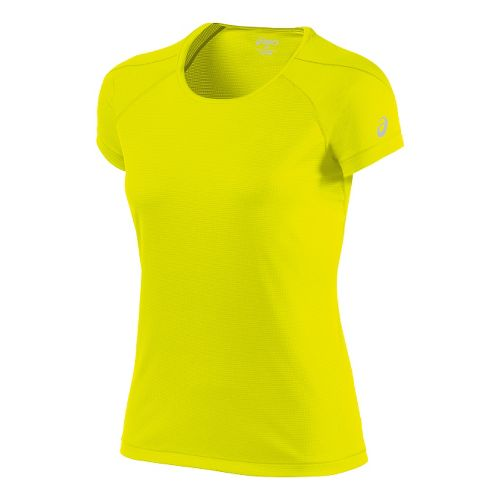 Womens ASICS Short Sleeve Technical Tops - Safety Yellow L