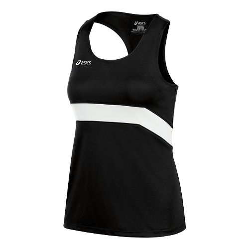 Womens ASICS Break Through Singlet Tank Technical Tops - Black/White M