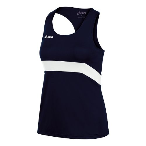 Womens ASICS Break Through Singlet Tank Technical Tops - Navy/White L