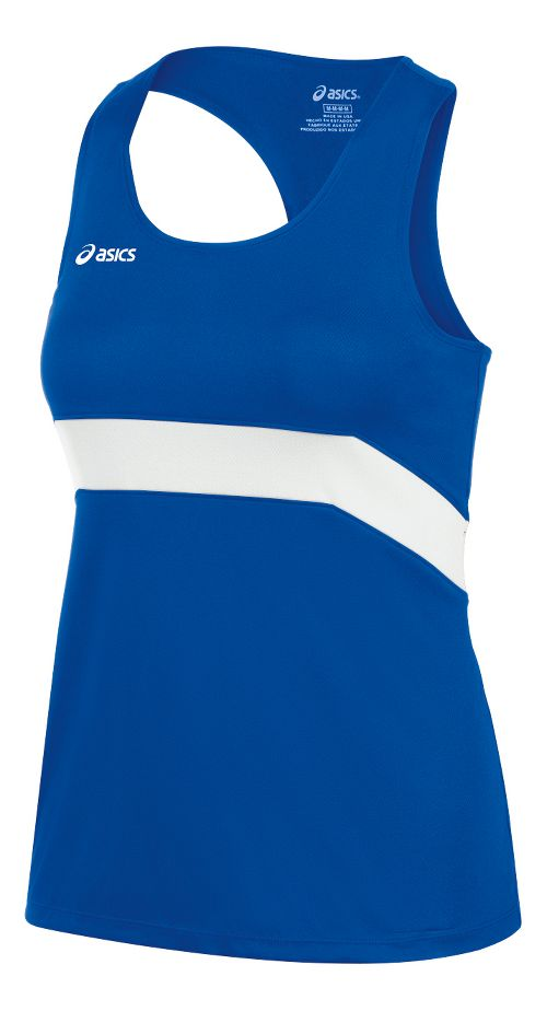 Womens ASICS Break Through Singlet Tank Technical Tops - Royal/White XXL