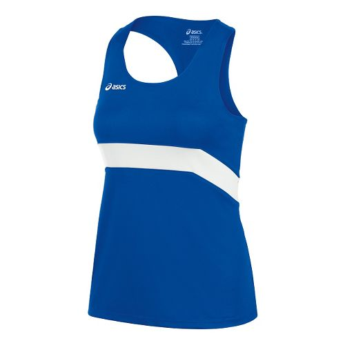 Womens ASICS Break Through Singlet Tank Technical Tops - Royal/White XS