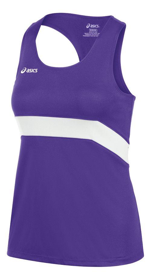 Womens ASICS Break Through Singlet Tank Technical Tops - Purple/White XS