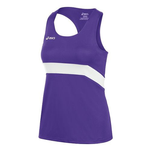 Womens ASICS Break Through Singlet Tank Technical Tops - Purple/White M