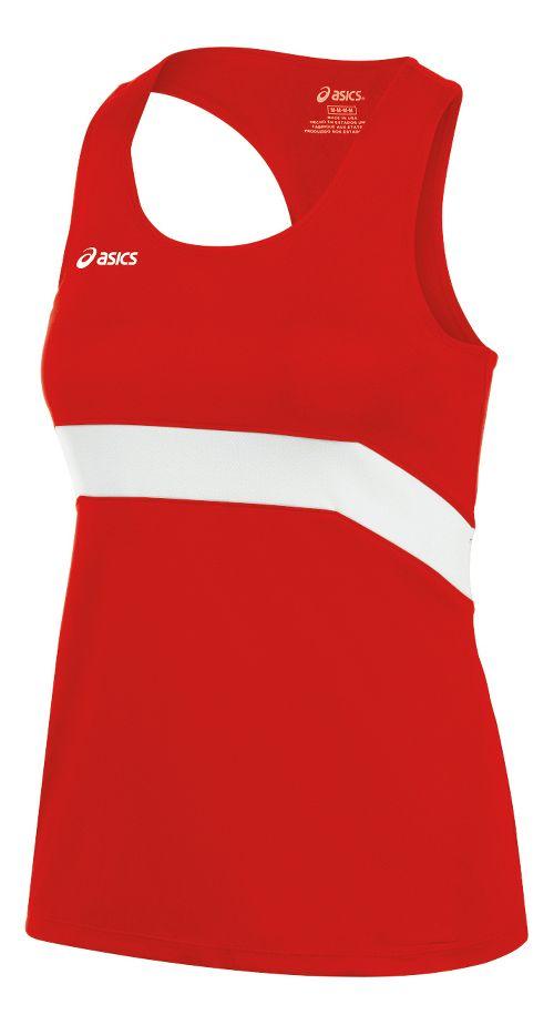 Womens ASICS Break Through Singlet Tank Technical Tops - Red/White XXL