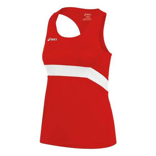 Womens ASICS Break Through Singlet Tank Technical Tops - Red/White L