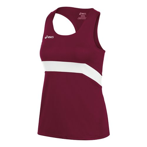 Womens ASICS Break Through Singlet Tank Technical Tops - Cardinal/White XS