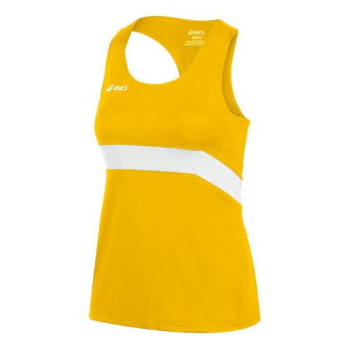 Womens ASICS Break Through Singlet Tank Technical Tops - Gold/White M