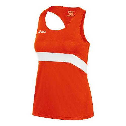 Womens ASICS Break Through Singlet Tank Technical Tops - Orange/White L
