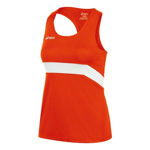 Womens ASICS Break Through Singlet Tank Technical Tops - Orange/White XS