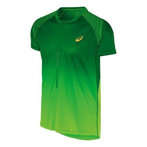 Mens ASICS Speed 1 Short Sleeve Technical Tops - Green Gecko S