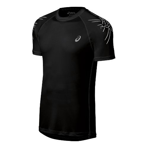 Mens ASICS Stripes Short Sleeve Technical Tops - Black XL